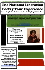 National Liberation Poetry Tour Experience in Amherst, MA @ Amherst College | Amherst | Massachusetts | United States